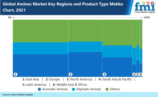 global amines market key regions and products type mekko chart,2021