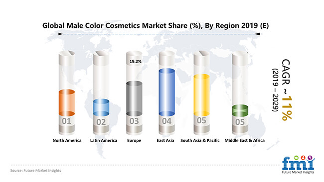 global male colour cosmetics market by region