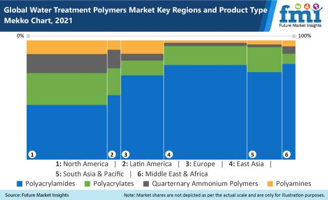 global water treatment polymers market key regions and product type mekko chart, 2021