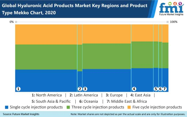 hyaluronic acid products market key regions and product type mekko chart,2020