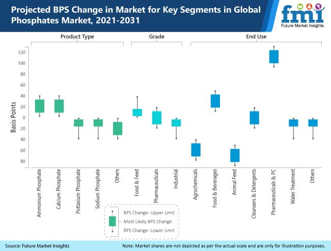 projected bps change in market for key segments in global phosphates market 2021 2031