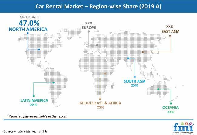 car rental market region wise share