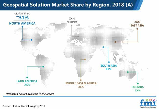 geospatial solution market share by region 2018 a