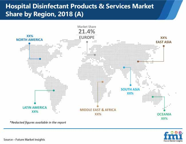 hospital disinfectants market share by region