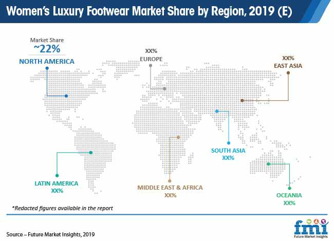 womens luxury footwear market share by region 2019 e pr
